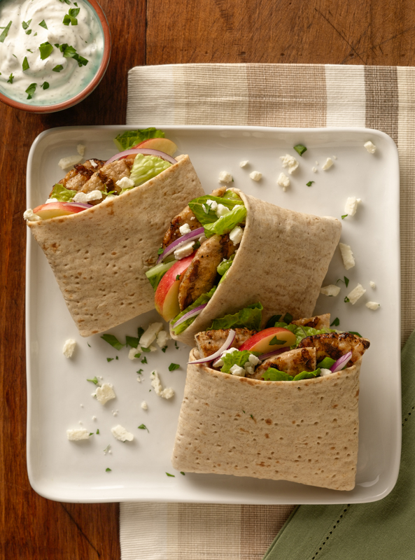 Sliced Tatziki  Wraps Hood Food Photo
