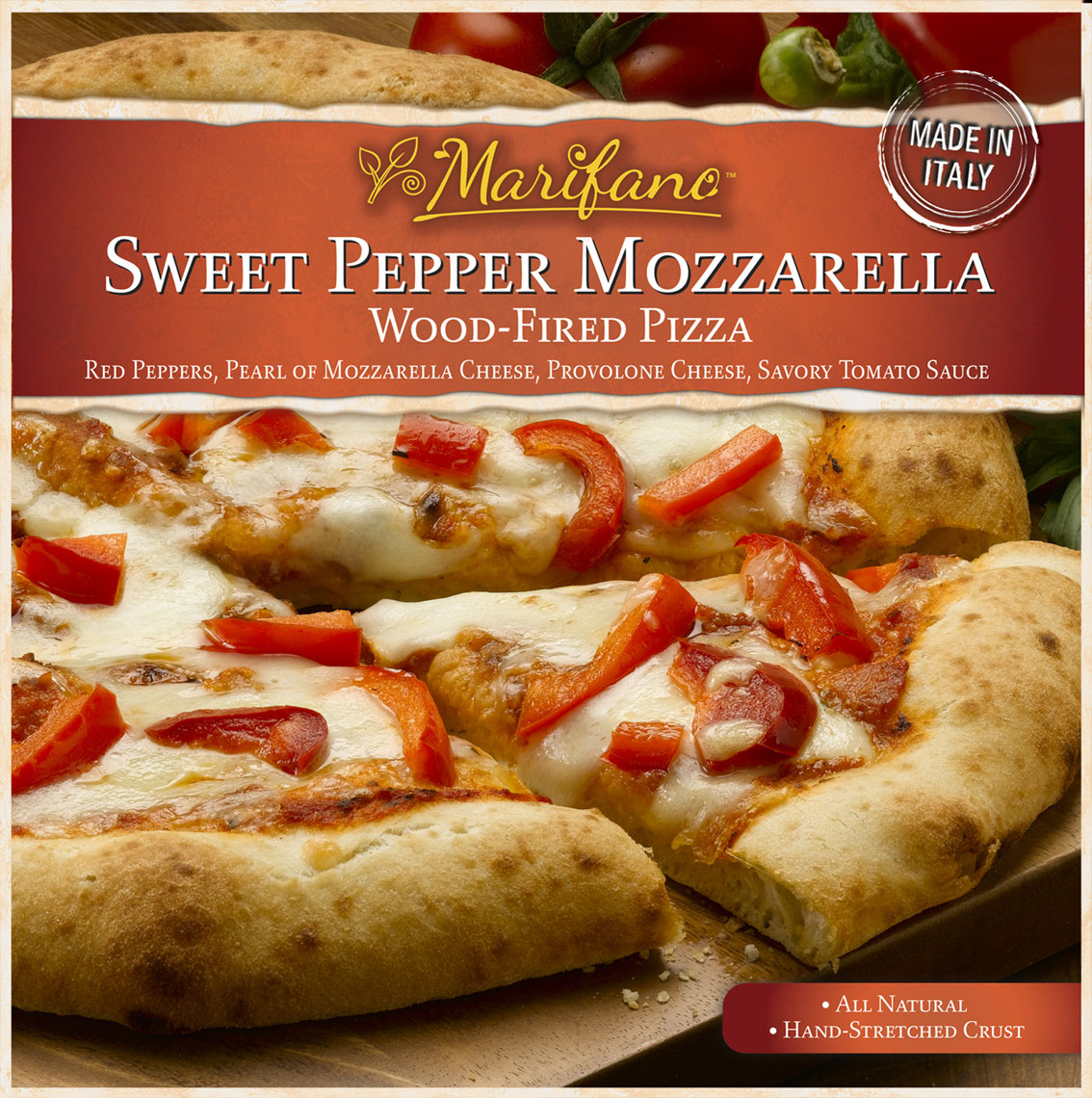 Sweet Pepper & Mozzarella Pizza Packaging Photo
